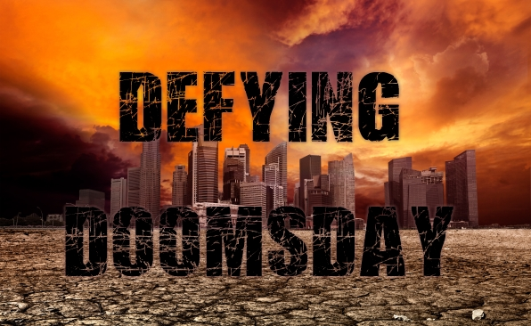 Defying Doomsday - Image of city overlooking desolate desert landscape with cracked earth