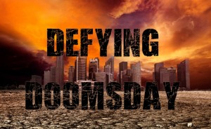 Defying Doomsday campaign cover - City overlooking desolate desert landscape with cracked earth