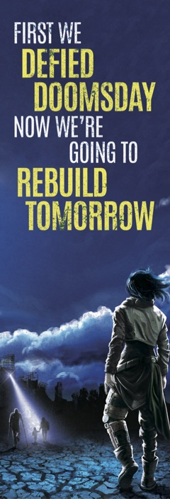 "Bookmark with Defying Doomsday cover art and text reading ""First we DEFIED DOOMSDAY, now we're going to REBUILD TOMORROW"""